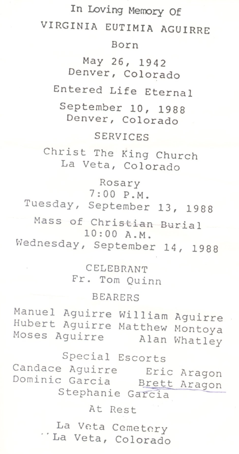 Huerfano County Memorial Cards
